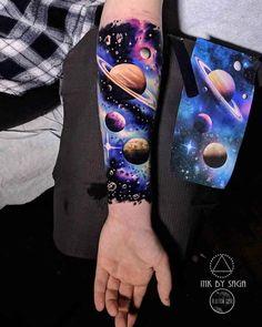 Space half sleeve tattoo tattoo ideas – tattoo style - Famous Last Words Mädchen Tattoo, Tattoo Style, Body Art Tattoos, Tribal Tattoos, Best Tattoo, Circle Tattoos, Large Tattoos, Geometric Tattoos, Galaxy Tattoo Sleeve