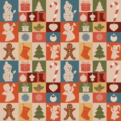 This free seamless Christmas background has a vintage style, and it's decorated with stockings, snowmen, trees, snowflakes, gifts, baubles, candy canes, holly, angels, and gingerbread men.