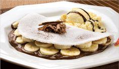 tapioca de banana com sorvete de creme e nutella