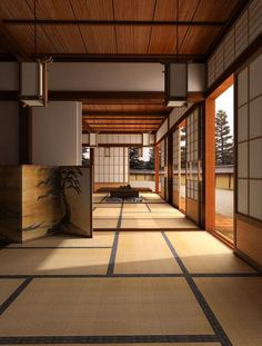 Japanese open concept home in the traditional style featuring shoji doors paper lanterns and tatami mats.