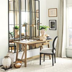 Add the Stephens Desk - Purchase an oak desk that is a study in refined rustic style. Artisan crafted with classic mortise-and-tenon stretcher and generous work surface. Oak Desk, Entrance Gates, Work Surface, Mortise And Tenon, Ballard Designs, Home Office Furniture, New Room, Rustic Style, Living Spaces