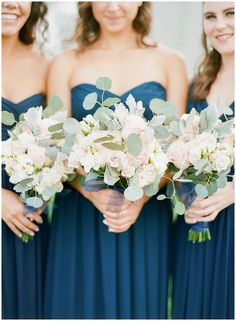 Navy bridesmaids dresses with white and blush bouquets Wedding Color Schemes, Wedding Colors, Vow To Be Chic, Floral Wedding, Wedding Bouquets, Wedding Flowers, Blush Bouquet, Cape Cod Wedding, Navy Bridesmaid Dresses