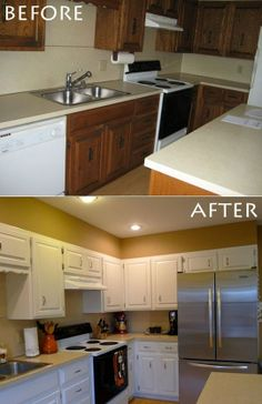 before after meredith stephens diy kitchen rehab painting kitchen cabinetsbefore - Professional Painting Kitchen Cabinets