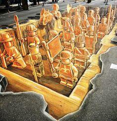 2011 Sarasota Chalk Festival in Burns Square. Leon Keer's Terracotta Army.
