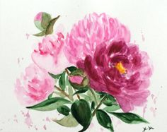 Peony Watercolor Painting Shabby Chic Home by ColorWatercolor