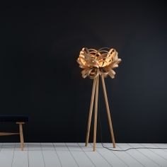 Butterfly Floor Light and Wooden Floor Stand | Tom Raffield