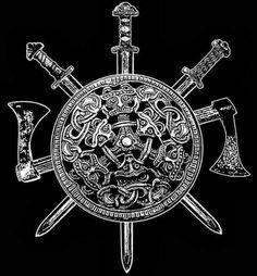 Viking Shield, Sword, and Axe