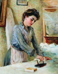 Гладильщица 1900-е. Маковский Константин Егорович.