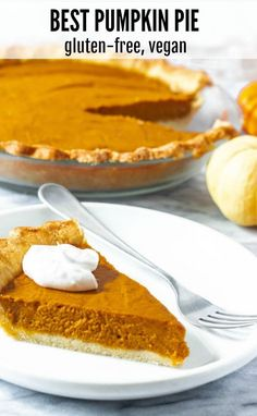 This amazing vegan gluten-free pumpkin pie is unbelievable flavorful with just t. - This amazing vegan gluten-free pumpkin pie is unbelievable flavorful with just the right amount of - Dairy Free Pumpkin Pie, Best Pumpkin Pie, Vegan Pumpkin Pie, Vegan Pie, Pumpkin Pie Recipes, Vegan Foods, Gluten Free Pie, Pumpkin Recipes Vegan Gluten Free, Diet Foods