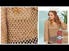 Tığ işi Yazlık Bluz - Crochet Summer Blouse w/Cotton Gold Plus or Diva Plus . Crochet Cardigan Pattern, Crochet Shirt, Crochet Top, Parte Superior Del Bikini, Corduroy Pinafore Dress, Crochet Girls, Summer Blouses, Knitting Videos, Crochet Clothes