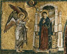 The Annunciation, mosaic by Jacopo Torriti, church of Santa Maria Maggiore, Rome. Byzantine Icons, Byzantine Art, Byzantine Mosaics, Early Christian, Christian Art, Medieval Art, Renaissance Art, Active C, Santa Maria Maggiore