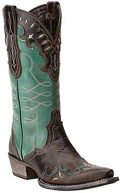 Ariat Women's Zealous Barnwood & Teal Green Wingtip Snip Toe Western Boots