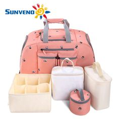 (89.00$)  Watch here - http://aib7s.worlditems.win/all/product.php?id=32757672836 - 5PCS/SET SUNVENO Large Capacity Baby Nappy Bag Waterproof Diaper Bag Fashion Mother Shoulder Backpack Maternity Baby Travel Bag