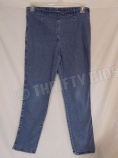 White Stag Denim Stretch Pants Pull On Leggings Womens L Large Petite 12 / 14 #WhiteStag #CasualPants