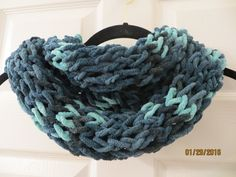 Handmade Teal Knit Chenille Infinity Scarf by MistyMountainYarns on Etsy