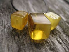 Geometric Necklace Cubical Honey Baltic Amber by DreamsFactory, $35.00