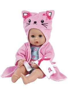 Adora BathTime Kitty Girl Washable Play Doll with Open/Close Eyes for Children Soft Cuddly Huggable QuickDri Body for Water Fun Toy - Toys 4 My Kids Bath Doll, Baby Cats, Baby Kitty, Hello Kitty, Baby Bath Toys, Little Doll, Bath Time, Washing Clothes, Doll Clothes