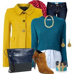 Mustard Yellow Winter Coat, created by lakegirl511 on Polyvore