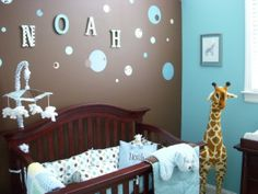 Noahs Nursery , wood letters , blue brown , giraffe