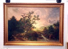 Antique Original Oil on Canvas Painting Mountain by FMFCompagnie