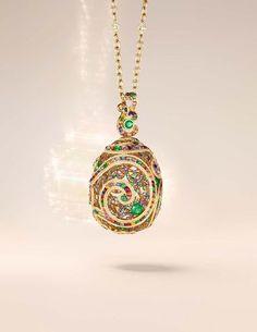Fabergé Rococo Multi-Coloured yellow gold high jewellery pendant (£POA).