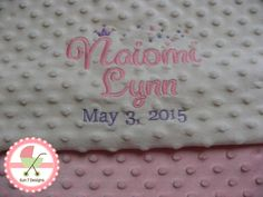 Personalized Minkee Baby Blankets and other baby products at www.sun7designs.com