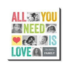All You Need Is Love Canvas Print, None, Single piece, 16 x 16 inches