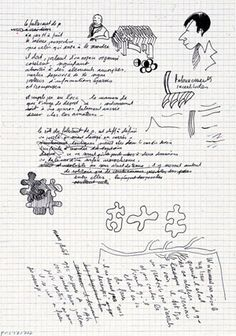 Brouillon de lamécanique dite «polygraphie du cavalier» pour La Vie mode d'emploi