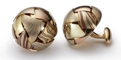 <b>MOSAIC CUFFLINKS</b>, 20mm<br /> – multi mokume combinations with 18kt yellow gold pieces and findings.