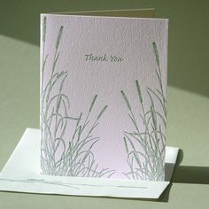 """Letterpress printed in deep green on white paper, this thank you card is blank inside for your personal, handwritten greeting.    This card is also available as a blank note and with """"Sympathy"""" greeting. $5"""