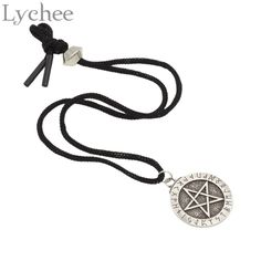 Lychee  Norse Viking Large Rune Pentacle Pentagram Pendant  Necklace Wiccan Norse Pagan Runes Jewelry for Men Women