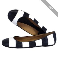 Pre-owned Kate Spade Isla Striped Leather Flats