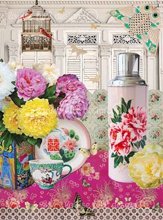 PINK PEONY Featuring the iconic national flower of China, a vintage wedding tea flask with the double happiness wording and whimsical elements of nature. 'Pink Peony' reflects more feminine hues with a nod to the heritage shophouse, synonymous with Singapore and many parts of Asia. http://www.louise-hill-design.com/pink-peony/