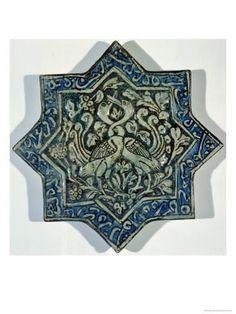 size: Giclee Print: Star-Shaped Overglaze Leaf-Gilded Tile in the Style of Takht-E Solaiman, Century : Religion Islamic Tiles, Islamic Art, Antique Tiles, Antique Art, Arabesque Pattern, Turkish Art, Decorative Tile, 14th Century, Illuminated Manuscript