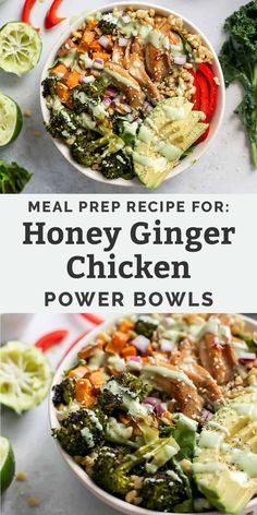 Eating Meals Chicken This Honey Ginger Chicken Power Bowl is the perfect meal prepped dinner or leftover lunch. Easily customizable and made with a creamy lime dressing. Dairy-free friendly and gluten-free friendly using your choice of grain. Lunch Bowl Recipe, Lunch Recipes, Healthy Recipes, Lunch Meal Prep, Meal Prep Bowls, Ginger Benefits, Quinoa Benefits, Clean Eating, Healthy Eating