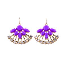 2014 New Fashion Jewelry for Women Europe and the United States 18K  Rose Gold Plated Acrylic Drop Fan Earrings $6.89