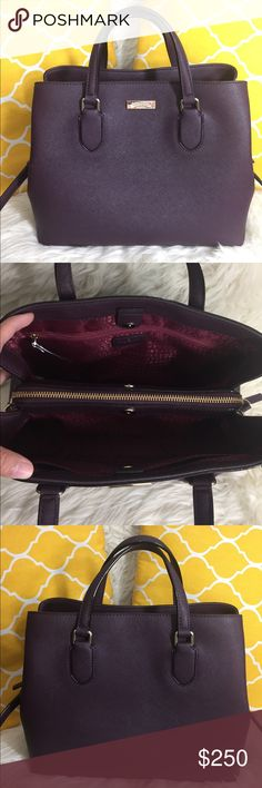 "🌸FLASH⬇️🌸Kate Spade All Leather Burgundy Satchel 🌷Authentic🌷Excellent shape. Minimal sign of use. Features top handle, removable/adjustable strap, 3 main compartment center zips while other snap to close the bag and 3 pockets inside. Gorgeous color! Great for work,school,travel or everyday purse. Carry it by hand/arm, shoulder or crossbody. Don't be shy to make an offer💕 Dimensions: L12.5"" H9.5"" Bottom Width5.5"" Handle Drop4"" +removable strap ✨Feel free to bundle with other purse✨ kate…"