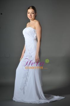 Simple A-line Strapless Beading Plus Size Chiffon Wedding Dress