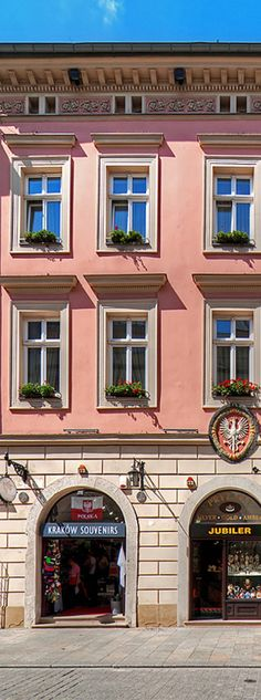 Pink Facade of the tenement by the street of Floriańska in Krakow, Poland