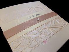 Square pocketfold invitations by www.tangodesign.com.au #embossedinvites #latteinvitations #weddinginvitations