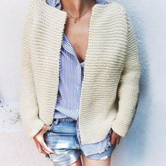 Handmade cardigan, knitted with petite wool from we are knitters