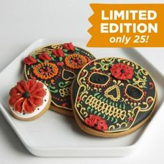 Sugar Skulls Limited Edition Gift Set.  Get yours from Eleni's New York, Find out more at our web site for candies, chocolates & cookies OR visit our HALLOWEEN ideas page at: http://www.allaboutcuisines.com/halloween #Halloween Ideas #Cookies
