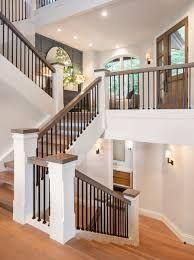 Metal Staircase Railing, Metal Balusters, White Staircase, Staircase Design, Open Stairs, Glass Stairs, Deer Valley Homes, Open Trap, Beautiful Bathrooms