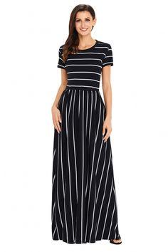 15f3147b92 White Striped Black Short Sleeve Maxi Dress
