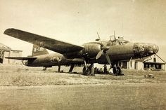 "Ki-67 74-148 of the 74th Hikō Sentai. (Matsumoto airfield, Japan, 1945.) The Mitsubishi Ki-67 Hiryū (飛龍, ""Flying Dragon""; Allied reporting name ""Peggy"") was a twin-engine heavy bomber produced by Mitsubishi and used by the Imperial Japanese Army Air Force in World War II. Its Army designation was ""Type 4 Heavy Bomber"" (四式重爆撃機)."