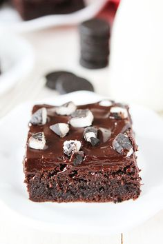 Peppermint Pattie Brownies Recipe on twopeasandtheirpod.com Rich, fudgy brownies with ganache and peppermint patties! The perfect brownies for the holidays!