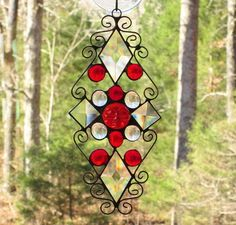 Stained Glass Suncatcher  Red Iridescent Moonface with Red &