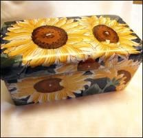 Sunflower Kitchen Stuff | Vintage Sunflower Painted Ceramic Box Large Vanity Dresser Accessory ...