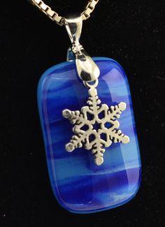 Snowflake  Fused Glass Pendant by VelvetBoxGlassArt on Etsy, $30.00