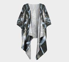 Black and white kimono, wrap, artist designed, fabric choice, draped kimono, kimono sleeves, robe, fashion, shrug, jacket, gift for her, #etsy
